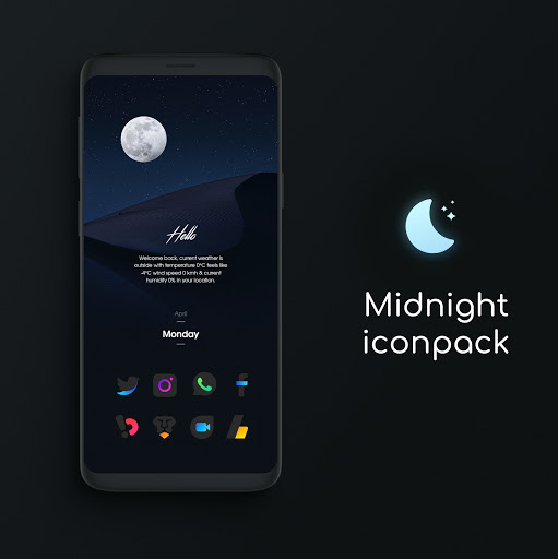 Download APK: Midnight Icon Pack v1.0 [Patched]