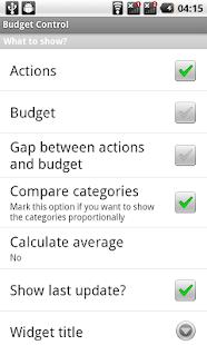 Budget Control Widget