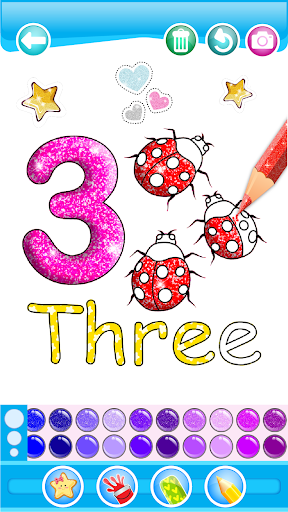 Glitter Number and letters coloring Book for kids 3.8 Screenshots 4