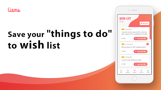 Lisme - wish list, bucket list making app - Screenshot