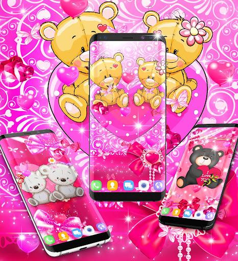 Teddy bear love hearts live wallpaper android2mod screenshots 4