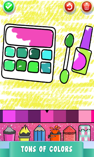 Beauty Drawing Pages Make Up Coloring Book Glitter  Screenshots 5