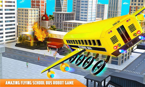 Flying School Bus Robot: Hero Robot Games apkmr screenshots 4