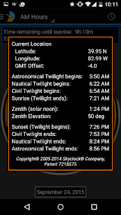 Skyclock - The sunrise/sunset twilight calculator! Screenshot