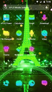 Neon Green Eiffel Tower-APUS Launcher theme 77.0.1001 Mod APK Updated Android 3