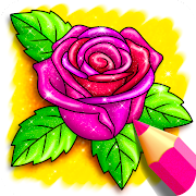 Rainbow Flowers Coloring Book