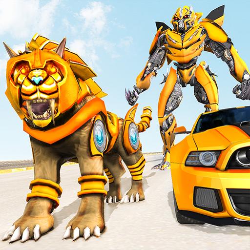 Lion Robot Car Transforming Games: Robot Shooting
