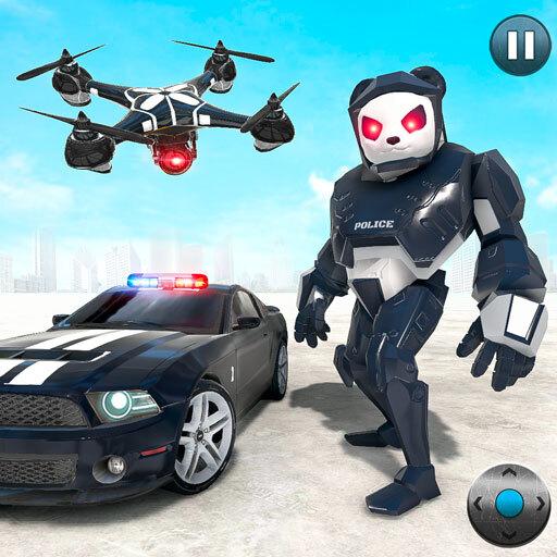 Police Panda Robot Car Transform: Flying Car Games