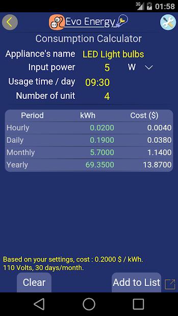 Captura de Pantalla 10 de EvoEnergy - Electricity Cost Calculator Free para android