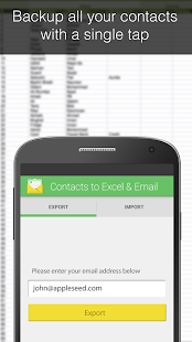 Contacts Backup -- Excel & Email