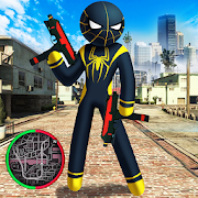 Spider Stickman Rope Hero black Venom : Gangstar
