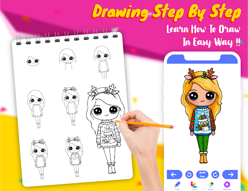 Drawely - How To Draw Cute Girls and Coloring Book modavailable screenshots 10