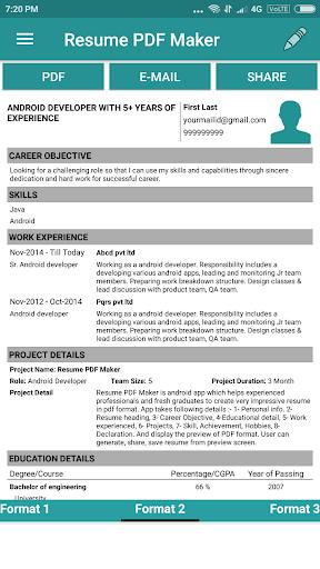 Resume PDF Maker / CV Builder 1.20 Screenshots 2