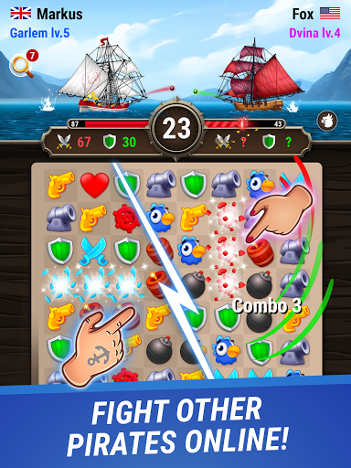 Pirates & Puzzles - PVP Pirate Battles & Match 3 Apkfinish screenshots 6