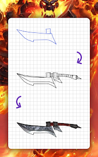 How to draw weapons step by step, lessons for WoW