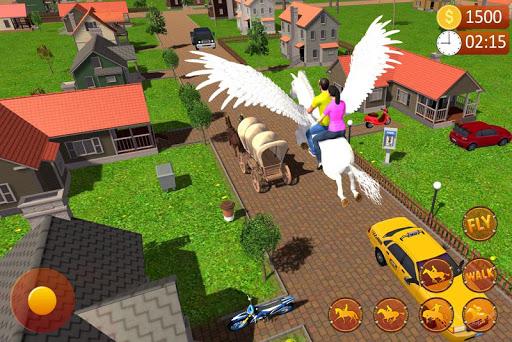 Flying Horse Taxi Driving: Unicorn Cab Driver  screenshots 1