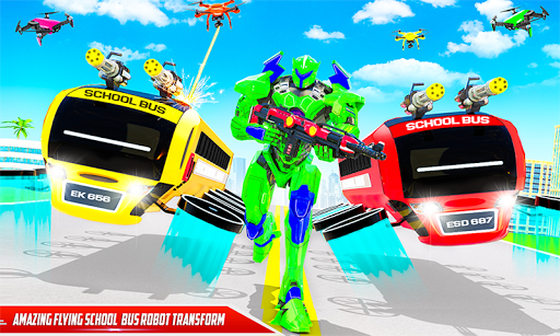 Flying School Bus Robot: Hero Robot Games apkmr screenshots 2