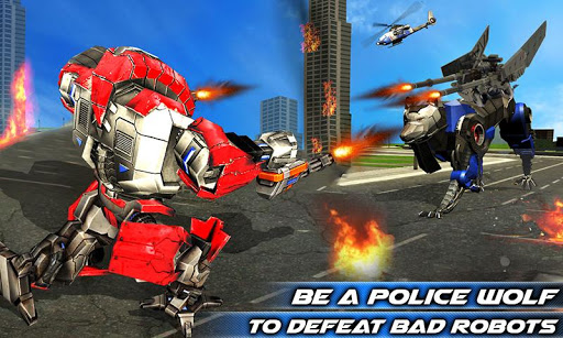 Air Force Transform Robot Cop Wolf Helicopter Game Screenshot 1