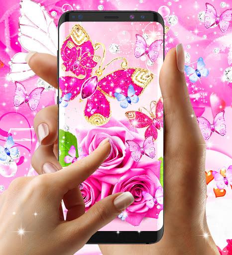 Diamond butterfly pink live wallpaper apktram screenshots 4