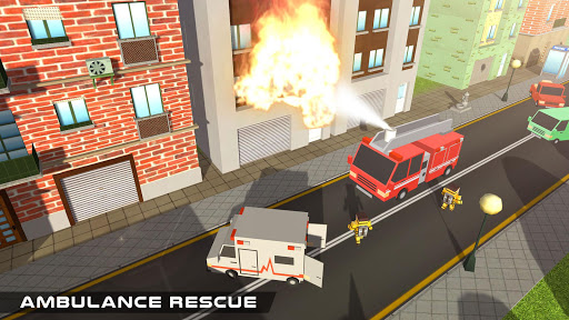 Blocky US Fire Truck & Army Ambulance Rescue Game apkmr screenshots 14