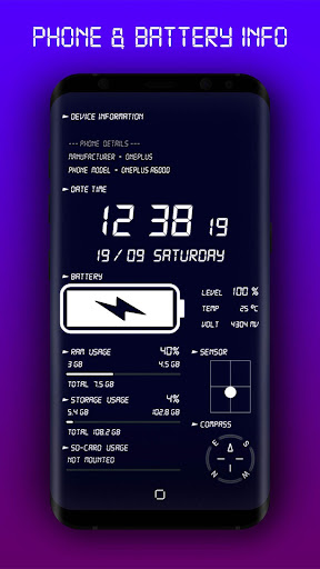 Phone & Battery Info Live Wallpaper 3.0 screenshots 1