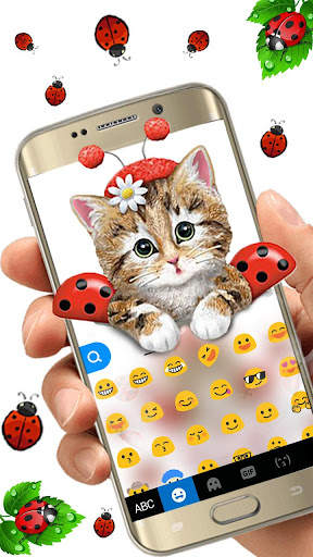 cute ladybird kitten keyboard theme screenshot 3