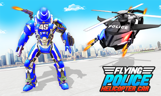 Flying Police Helicopter Car Transform Robot Games 30 Screenshots 1