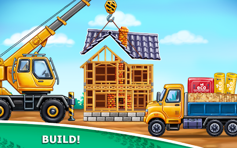 Truck games for kids – build a house, car wash 4