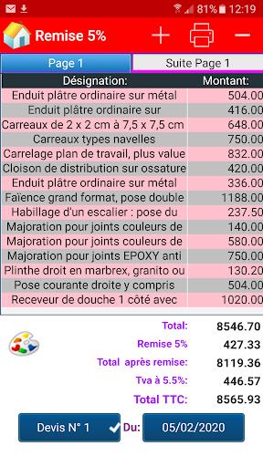 Devis & Factures Bu00e2timent 3.10.0.0 screenshots 1