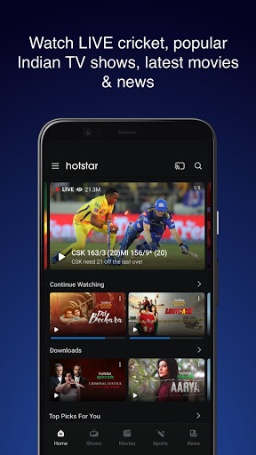 Hotstar - Live Cricket, Movies, TV Shows  Screenshots 1