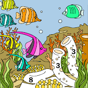 Aquatic Animals Color by Number: Sea Coloring Book