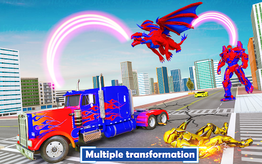 Flying Dragon Transport Truck Transform Robot Game  screenshots 8