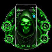 Neon Emerald Skull Apus Launcher Theme 2019