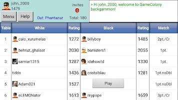 screenshot of Backgammon Club