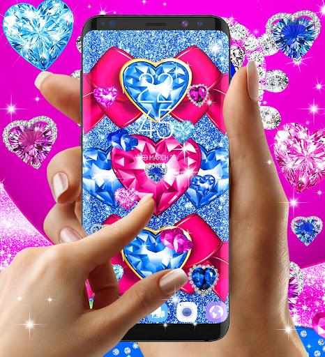Blue hearts crystal diamonds live wallpaper android2mod screenshots 3