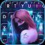 تحميل  Cyberpunk Mask Girl Keyboard Background