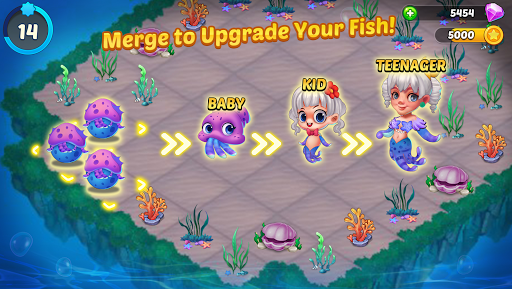 Merge Mermaids-design home&create magic fish life. 1.0.8 screenshots 3