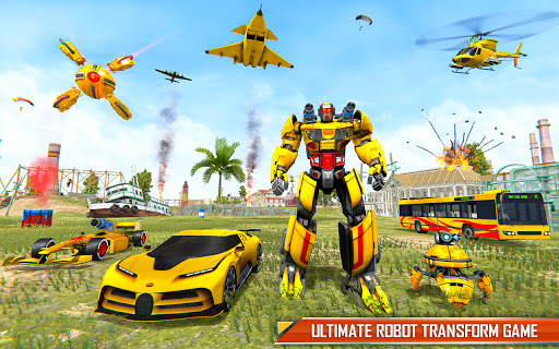 Bus Robot Car Transform: Flying Air Jet Robot Game apktram screenshots 6