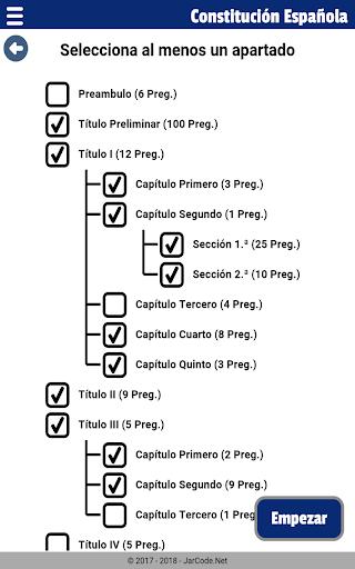 Tests oposiciu00f3n constituciu00f3n Espau00f1ola apktram screenshots 11