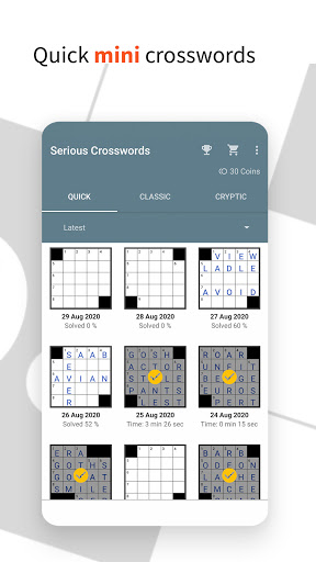 Serious Crosswords - free crossword every day 1.52 screenshots 3