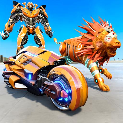 Lion Robot Transform War : Light Bike Robot Games APK