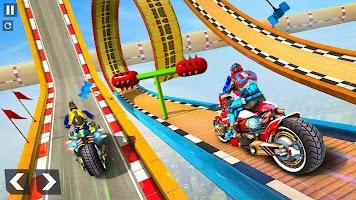 Speed Robot Hero Mega Ramp Bike Stunts
