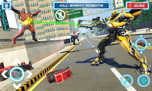 Lion Robot Transform Bike War : Moto Robot Games 1.5 screenshots 5