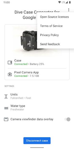 """موصّل حافظة الغوص في """"كاميرا Google"""""""