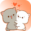 Sticker Mochi Peach Cute Cat Wastickerapps