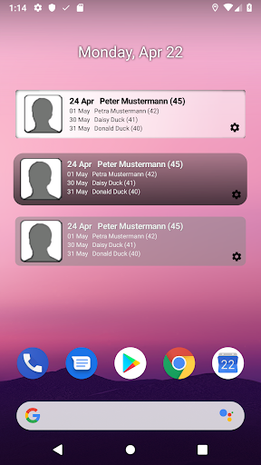 birthday info widget screenshot 1