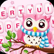 Pink Cute Owl Keyboard Theme