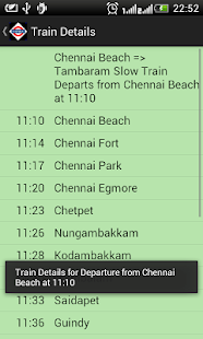Chennai Local Train Timetable Screenshot