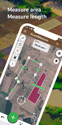 Measure area, land, measure length, GLandMeasure 2.3.3 screenshots 1
