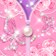 Zipper Lock Screen Pink Butterfly Pearl
